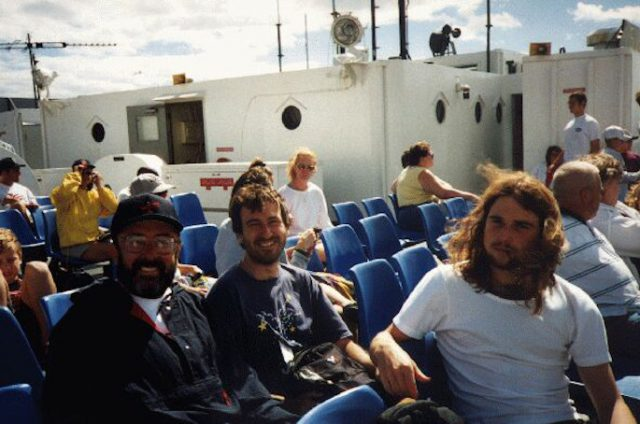 Marine Biological Laboratory, Woods Hole. With Jim and Philip on the ferry to Martha's Vineyard. Summer 1996.