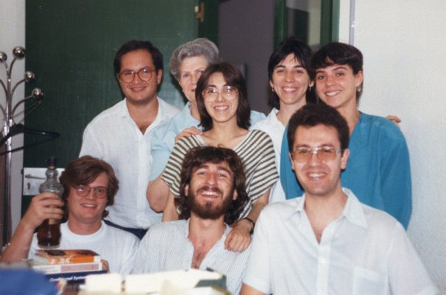 Librarians at the UAB library of the Sciences Faculty. With Jordi, Joan, Daria, Roser, Montse, Jesús and Montse. June 1986.