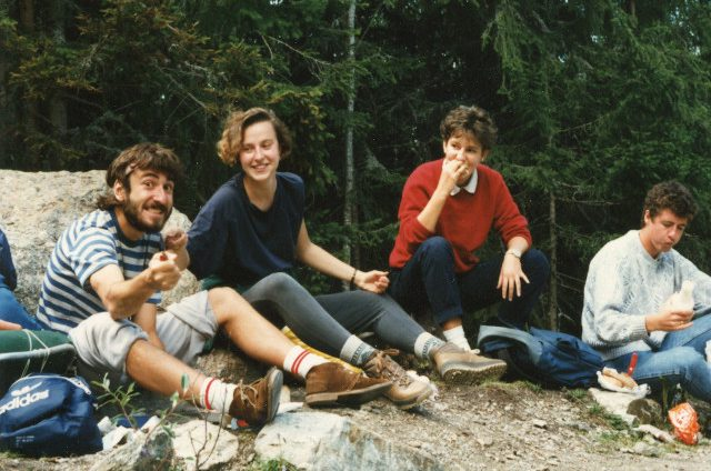 Trainee student at CIBA-GEIGY, Basel. Hiking in Grindelwald with Rita, Barbara and Donald. September 1986.