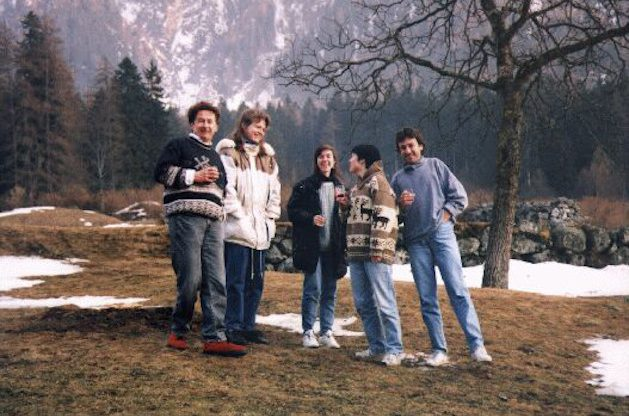 Friedrich Miescher Institute, Basel. Group retreat at Bergell. With Theo, Rahel, Claudia and Janka. 1996.