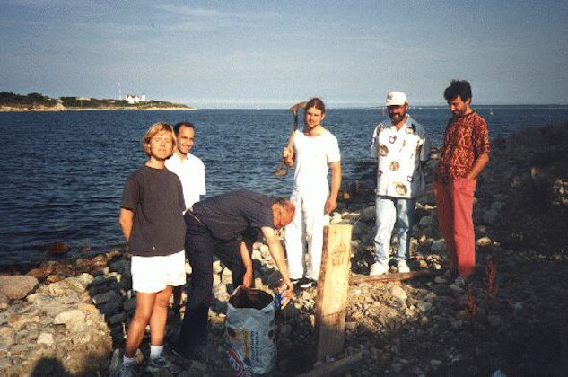 Marine Biological Laboratory, Woods Hole. Max digging the hole for a New England Clam Bake and everyone else looking. Summer 1997.